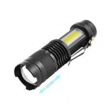Фонарь Police 1812C-XPE+COB, ЗУ micro USB, встроенный аккумулятор, zoom, Box